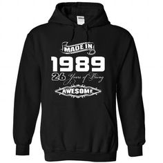 Made In 1989 Years Being Awesome T Shirts, Hoodies. Check price ==► https://www.sunfrog.com/Birth-Years/Made-In-1989-Years-Being-Awesome-7437-Black-21722806-Hoodie.html?41382 $39.99