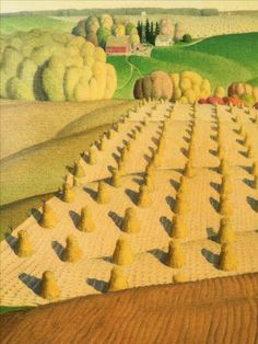 Arts And Crafts Chandelier Summer Landscape, Landscape Art, Landscape Paintings, Landscapes, Grant Wood Paintings, Fields In Arts, Iowa, Art Grants, Wooded Landscaping