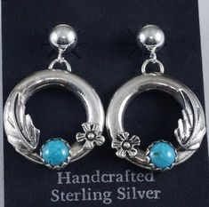 89cf2b040 Item #861M-2- Navajo Turquoise Round Silver Leaf Flower Decorated Earrings  by Cody