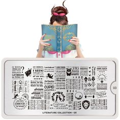 Meet Agatha! She's a bit of an open book, has an effortless way with words and always tells the best stories. We can't wait to see your literary-inspired nails!● MoYou-London Literature 03 includes 1 large design measuring 10.5 x 4.7cm made up of various sized designs. ● The stainless steel plate measures 6.5 x 12.5cm and have a vinyl backing for increased ease of use. ● Each plate comes in its own branded protective sleeve. ● The designs are engraved on to the image plate and covered…