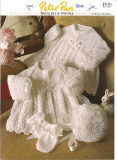 Peter Pan Knitting Pattern for Jacket, Bonnet & Mitts in 3 Ply & 2 Ply wool To fit age 0-6 mths, 6-12 mths & 12-18 mths For Yoked Jacket, Bonnet & Mitts you will require: 3 ply wool 2 x 50g (0-6 mths & 6-12 mths) 3 x 50g (12-18 mths) 2 - 2 3/4 mm and 2 - 3 mm knitting needles 5 buttons for Jacket Baby Cardigan, Cardigan Bebe, Knitting For Kids, Baby Knitting Patterns, Baby Patterns, Knitting Pullover, Pram Sets, Baby Layette, Knitted Baby Clothes