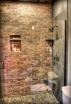 Beau Now Iu0027m Obsessed With The Brick Walls For The Basement Bathroom Without A  Shower Door U0026 Weu0027ll Put Up Partial Wall Between The Toilet U0026 Shower