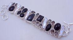 Black Onyx-Biwa Pearl-Smoky stone .925 silver handmade Bracelet Jewelry - free shipping (f-332) by PINKCITYGEMS on Etsy
