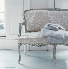 Blue damask settee inspiration - Above the Door: Pull up a settee