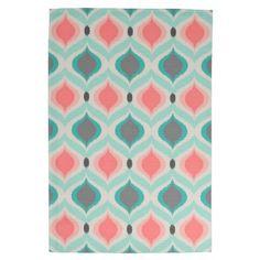Aqua and Coral Jewel Ikat Pattern Kitchen Towels