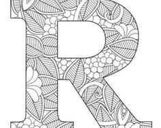 Letter r floral coloring letters, coloring pages, adult coloring, copy pape Coloring Letters, Alphabet Coloring Pages, Coloring Books, Colouring, Mandalas Painting, Mandalas Drawing, Easy Coloring Pages, Printable Coloring Pages, Book Letters