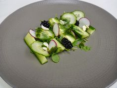 Cucumber and Dill Salad --Chef David Haick presents his favorite go-to vegan salad drizzled with dill vinaigrette and spiced up with arugula and radishes. Gourmet Desserts, Gourmet Recipes, Healthy Recipes, Plated Desserts, Gourmet Foods, Miso Black Cod Recipe, Cabbage And Onions Recipe, Assiette Design, Cucumber Dill Salad