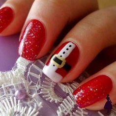 Christmas Nails - Christmas Nail art Designs and Ideas 2 Santa Nails, Xmas Nails, Christmas Manicure, Easy Christmas Nails, Red Nails, Christmas Glitter, Simple Christmas, Halloween Nails, Christmas Nail Art Designs