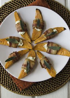 Thanksgiving Side Dish: Bacon-Wrapped Sweet Potatoes with Herbed Goat Cheese