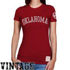 2f3e44377ab Original Retro Brand Oklahoma Sooners Ladies Crimson Distressed Crew Neck  Vintage Premium T-shirt Champion