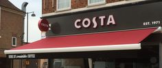 Take a look at our latest awning installation at the brand new branch Costa Coffee Northwood Hills! Costa Coffee, Art Pieces, Neon Signs, Outdoor Decor, Costa Cafe, Artworks, Art Work
