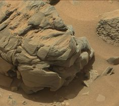 Martian rock via Curiosity, sol 735. #mars #planet #space