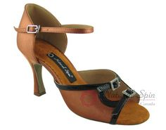 Natural Spin Latin Shoes(Open Toe, Adjustable):  M1146-07a_DrBrown2CS