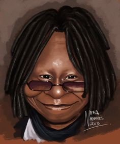 Caricature of Whoopi Goldberg Funny Caricatures, Celebrity Caricatures, Celebrity Drawings, Caricature Artist, Caricature Drawing, Create A Comic, Funny Cartoon Pictures, Historia Universal, Whoopi Goldberg