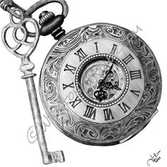 Timing is Key, a digital drawing of a key and pocket watch
