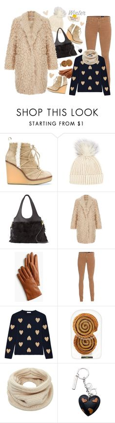 """""""FUR COAT"""" by lence-59 ❤ liked on Polyvore featuring Moncler, Topshop, Elizabeth and James, J.Crew, AG Adriano Goldschmied, Chinti and Parker and Helmut Lang"""