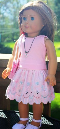 American Girl Doll Clothes-Embroidered Pink Skirt, Tank Top, Totebag and Necklace