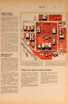 """Ohio University Today, Fall 1979. """"In July, the 'Ohio University Campus Green Historic District' was entered in the U.S. Deptartment of the Interior's National Register following nomination by the Ohio Historical Society."""" :: Ohio University Archives"""