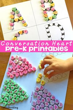 This is a fun set of FREE Valentine's Day learning activities that go along with candy hearts! Preschoolers will practice colors, counting, patterns and lette