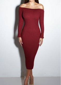 Off the Shoulder Wine Red Sweater Dress - USD $23.64