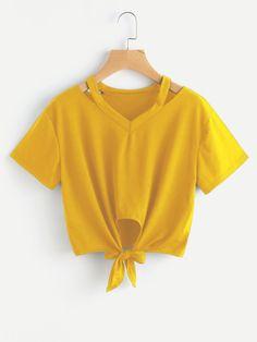 Camiseta con abertura y nudo en la parte delantera -Spanish SheIn(Sheinside) Sitio Móvil