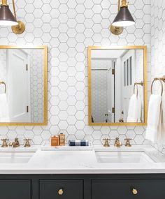 Today we are talking about a bathroom trend we love -- a tiled statement wall! Head to the blog to see more images + details! Love this one @caitlinwilsondesign