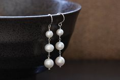 Freshwater Pearl Trio Earring, Argentium Sterling Silver, White Creamy, 3 Three Triple, June Birthstone - Gracie, by Princess Ting Ting Jewelry @ Etsy