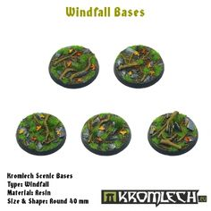 This set contains 5 round 40mm scenic bases. Windfall theme.