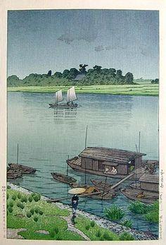Kawase Hasui (1883-1957): May Rain at Arakawa, woodblock print, 1932. SOLD.