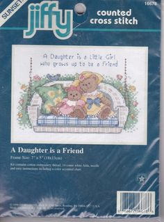 Dimensions Jiffy A Daughter is a Friend Counted Cross Stitch Kit Bears 7 by 5 In #DimensionsJiffySunset #Frame