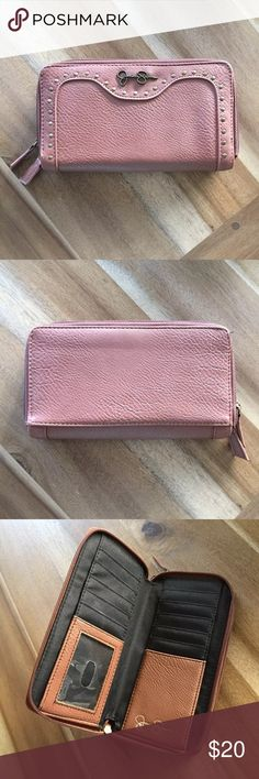 Jessica Simpson wallet/clutch Light brown leather with bronze stud detail. Plenty of credit card and cash slots plus larger compartments for change and bigger items. Never used. Jessica Simpson Bags Wallets