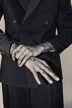 a fashionable pic of not fashionable tattoos. Finger Tattoos, Hand Tattoos, Graphic Design Tattoos, Real Tattoo, Hand Reference, Love Tattoos, Tattoo Designs, Menswear, Palmistry