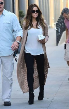 Kate Beckinsale wearing Prada Suede Lace Up Boots and Balmain Spring 2016 Stretch Viscose Long Cardigan