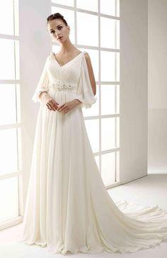 7f6fca3623355 Very Greek - I love it! V Neck Wedding Dress