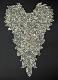 Pearl Beaded Sequin Applique Bridal Applique by JoyceTrimming
