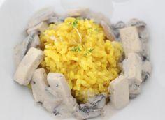 Creamy Oyster Mushrooms on Turmeric Rice