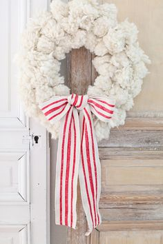 White wool wreath..
