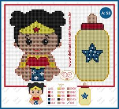 Wonder Woman x-stitch Cross Stitch For Kids, Cross Stitch Baby, Cross Stitch Charts, Cross Stitch Designs, Cross Stitch Patterns, Plastic Canvas Crafts, Plastic Canvas Patterns, Batman Crochet, Cross Stitching