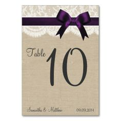 Ivory Lace and Purple Bow, Burlap Table Numbers Table Card