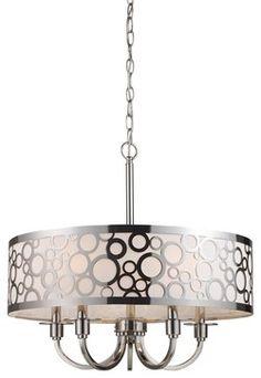 Retrovia Modern Five-Light Metal & Opal Glass Chandelier - modern - Chandeliers - Luz Modern