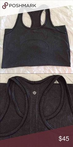 Lululemon run swiftly tank Excellent condition. Thin black and gray stripes. Size 8! Price pretty firm. lululemon athletica Tops Tank Tops