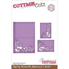 """CottageCutz Die 4""""X6""""-Spring Butterfly Notecard Made Easy"""