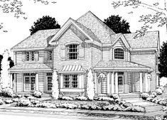 Elevation of Country   Farmhouse  House Plan 68495