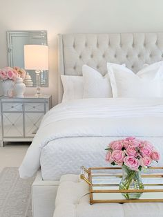 Home Decoration Livingroom Elegant Master Bedroom Refresh with The Company Store The Decor Diet.Home Decoration Livingroom Elegant Master Bedroom Refresh with The Company Store The Decor Diet All White Bedroom, Glam Bedroom, Room Ideas Bedroom, Home Decor Bedroom, Chic Master Bedroom, Bed Room, White Bedrooms, Ikea Bedroom, Bedroom Decor Elegant