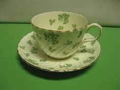 Aynsley China Tea Cup and Saucer Green by hazeleyesartglassetc