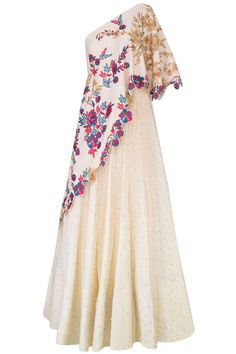Vanilla color one shoulder gown with embroidered aymmetric cape available only at Pernia's Pop Up Shop. Indian Gowns, Indian Attire, Indian Outfits, Indian Designer Outfits, Designer Dresses, Mode Plus, Western Dresses, Ladies Dress Design, Dress Patterns