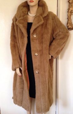 VINTAGE 1970s GLENN MODELS MARNO MINK FAUX FUR LONG COAT 60s ROCKABILLY RETRO