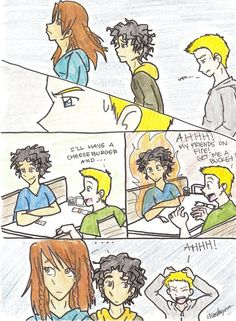 Funny percy jackson comic with leo, piper and jason Percy Jackson Comics, Percy Jackson Fan Art, Percy Jackson Books, Percy Jackson Fandom, Piper And Jason, Jason Grace, Saga, The Lost Hero, Team Leo