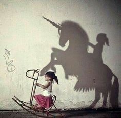 Children can imagine anything, children imagination, shadow pictures, power of imagination, importance of imagination Real Unicorn, Belle Photo, Art Studios, Oeuvre D'art, Dream Big, I Have A Dream, Art Photography, Shadow Photography, Creative Photography
