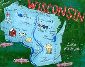 Postcards of The 50 States : Christiane Engel - Illustration Portfolio Goodbye To All That, Superior Wisconsin, Geography Map, Wisconsin Badgers, Kids Room Art, Canvas Prints, Art Prints, Illustrators, Illustration Art